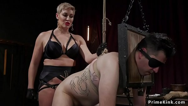Busty blonde domina pegging bound man