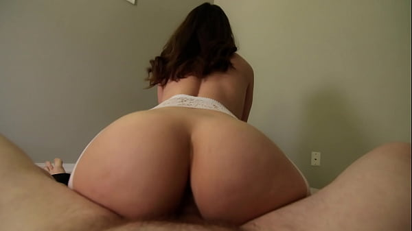 Sexy Natural Amateur w/ Bubble Butt Bounces in Reverse Cowgirl in White Lingerie