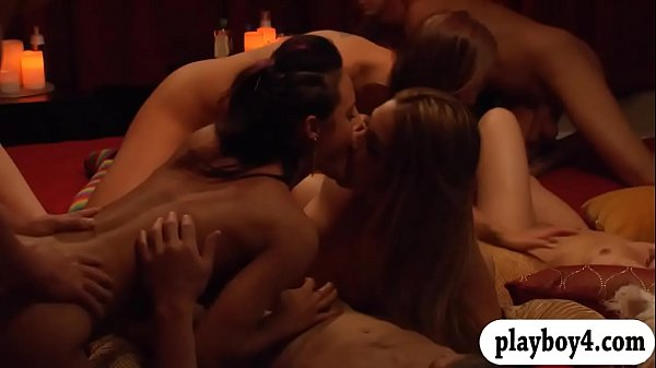 Group of couple swingers massive orgy in Playboy room