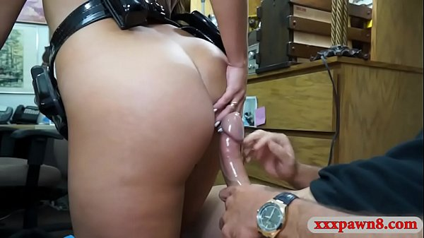 Horny busty officer pounded by pawn man