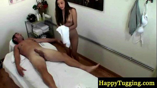 Asian masseuse tugging dong