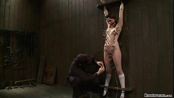 Bound brunette slave set on Sybian