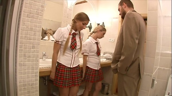 Lucky teacher finds two stunning schoolgirls Mina and Morgan Moon then anally fucks them