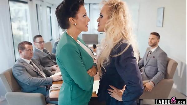 Business woman Brandi Love lesbian sex in the office