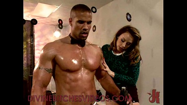 Busty babe fucks muscle guy with strapon cock and rides his dick