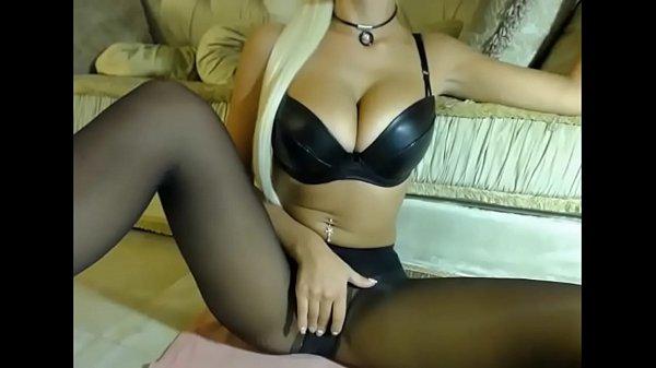 Busty camgirl in black pantyhose and Bra