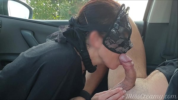 Sucking cock Cum in the car on a public street risking to be caught by strangers - MissCreamy