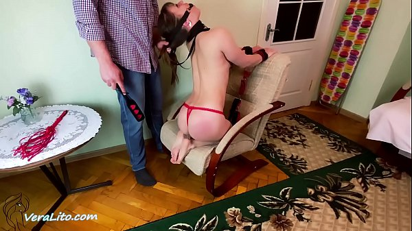 Man Spank Ass and Facefuck Gagged Girl Handcuffed