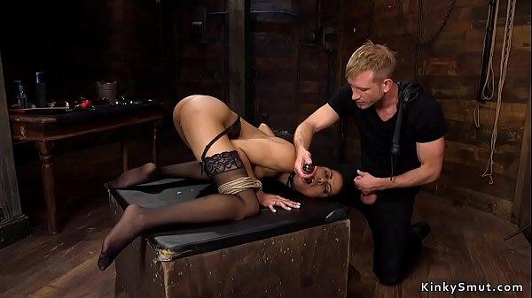 Ebony in bondage anal plugged and fisted Thumb
