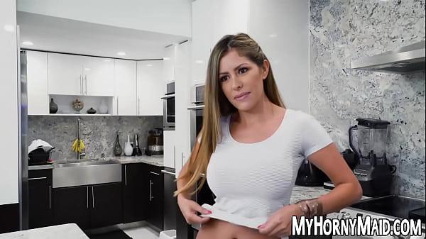 Beautiful Latina Alexa Vega does a bit of extra housekeeping