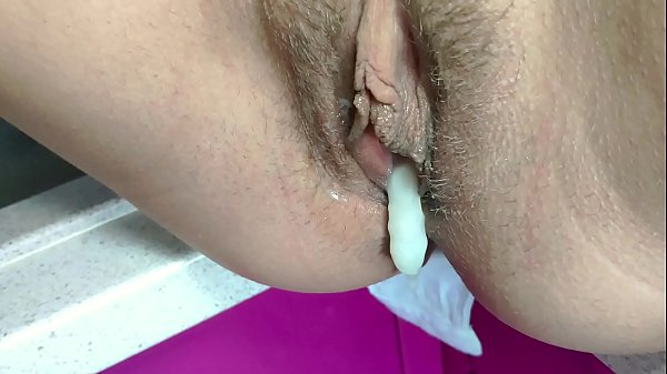 Quickie sex and risky creampie on kitchen. Filled her pussy with cum