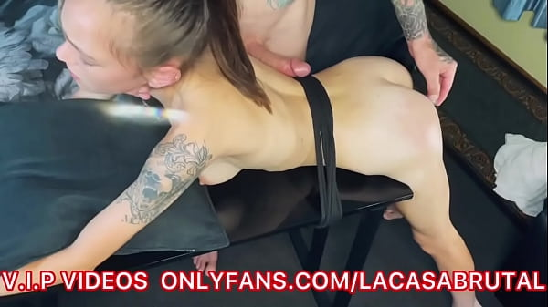 BrutalBrat oiled up double penetration anal beads and lubed cock