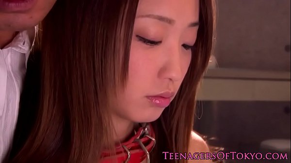 Chained asian teen fingered