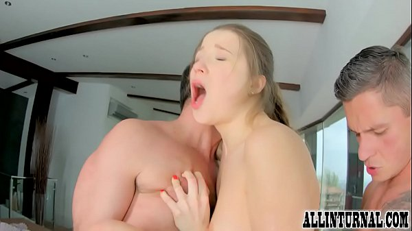 Sexy brunette takes a load in her pussy during threesome