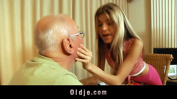 Sexy blonde teen satisfy her rich grandpa lover Thumb