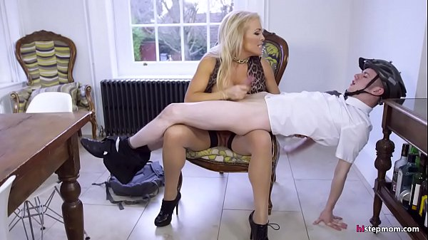 Angry MILF makes a religious guy fuck her ass