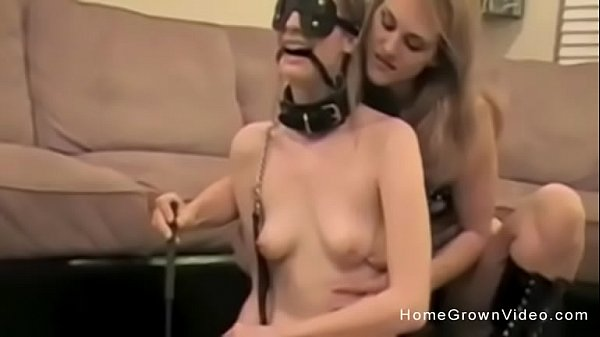 Blonde lesbian amateur dominates her sex slave