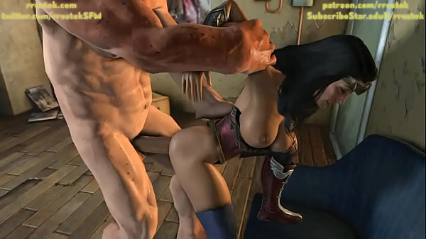 Wonder Woman anally fucked by ogre looking man 3D Animation