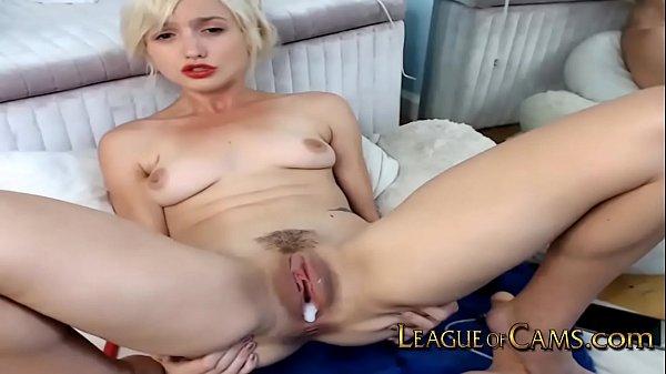 Petite Blonde College Girl Pushes Vibrator Agai...
