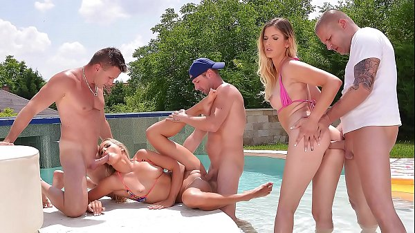 Blonde bikini babes Mira Sunset and Christen Courtney have a hot anal orgy
