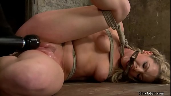 Blonde in suspension is anal fingered