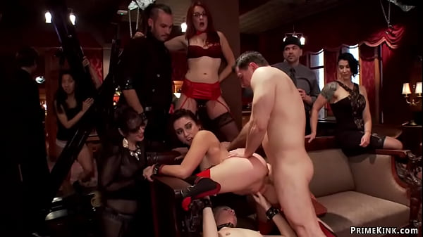 Bound babes anal fucked at party