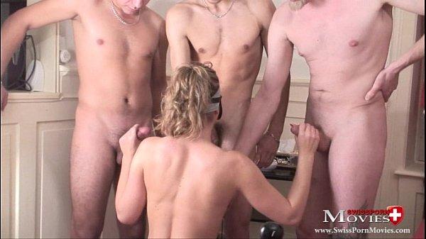 Blondi Leony 18 gets fucked with 4 hard dicks