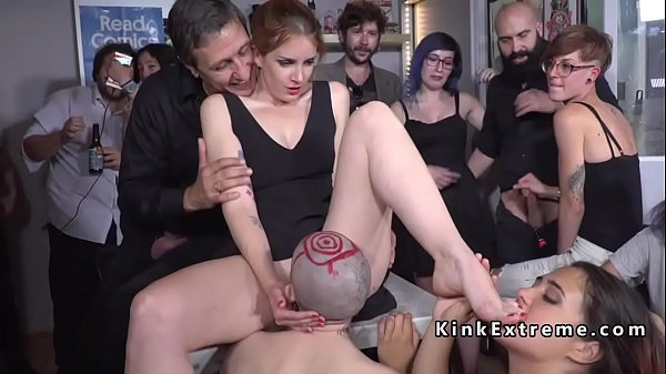 Trimmed head slave whipped in public
