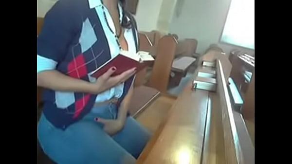 Big tit slut masturbates AT CHURCH! Thumb