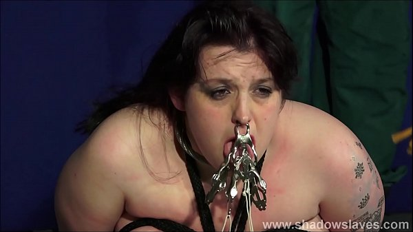 Fat slaveslut Emma tit t. and breast whipping of bbw masochist in cruel face punishment and merciless humiliation