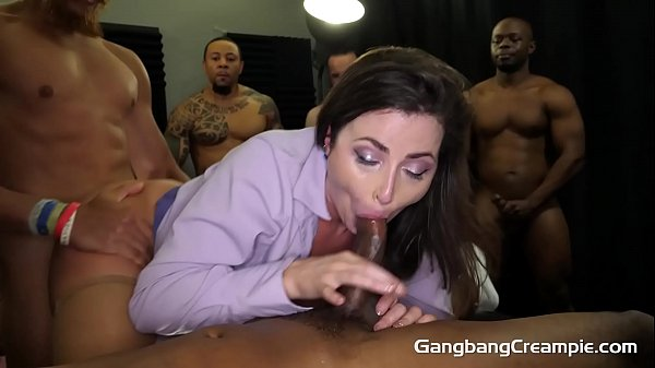 Gangbang Creampie - Freaky Hot Milf Teacher Gets Fucked By Muscular Studs