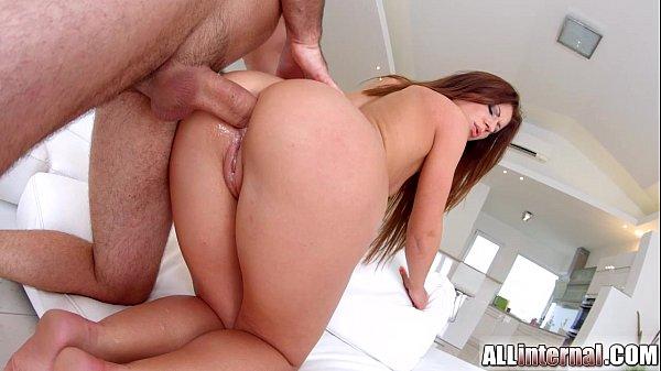 AllInternal Threesome ass sex for gorgeous brunette Regina Crystal