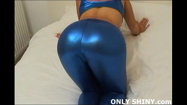 Check out my tight little ass in these shiny blue PVC panties