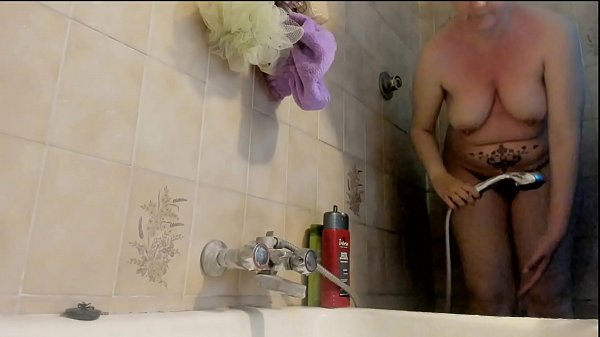 Your beautiful Italian mom in the shower with her big hairy pussy