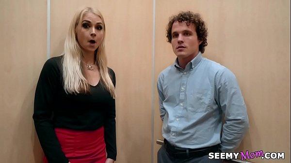 My boss' angry wife Sarah Vandella fucks me in the elevator