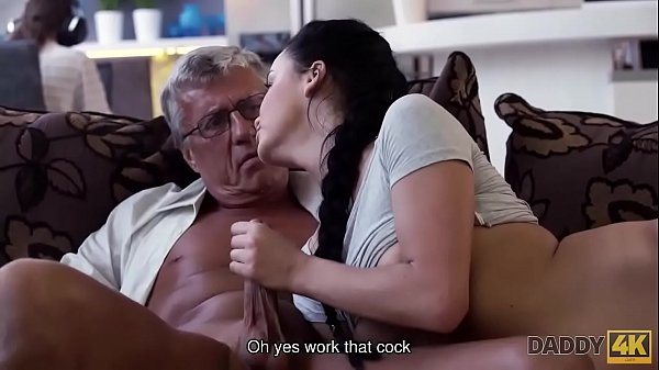 DADDY4K. Grey-haired old man with glasses fucks beautiful young girl Erica Black