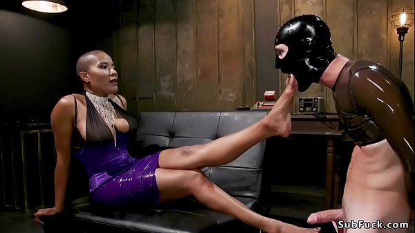 Ebony dom torments dick to man