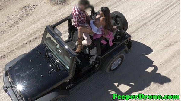Drone peeps on sex in jeep