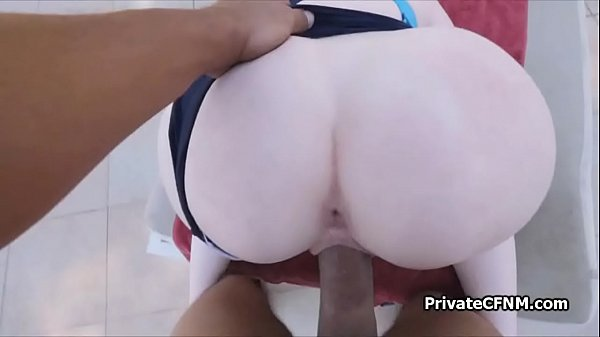 Teen ginger ass on black dark by the pool