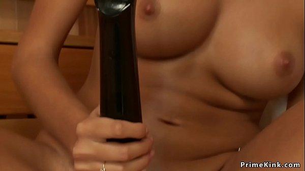 Sweaty solo brunette fucks machine