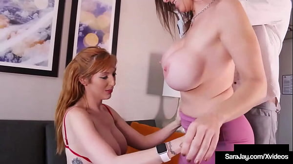 Cougar Sara Jay And Busty Lauren Phillips Milking A Dick In Hot 3way! Thumb