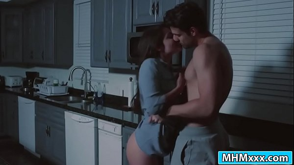 Hot Adria Rae deepthroats guy in kitchen