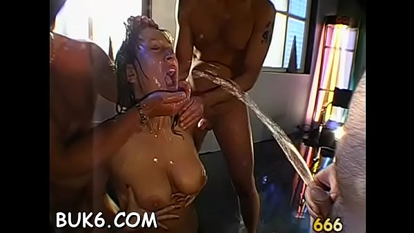 Breasty darling gets pussy and face pissing from two men Thumb