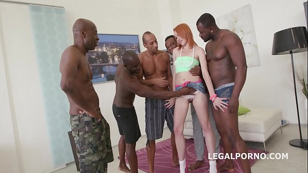 Gaping Teen slut Rebecca battles 5 Black monster cocks in Epic DP
