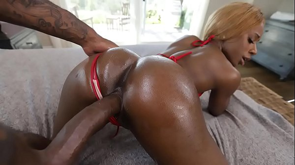 Hot ebony babe gets fucked by a huge black cock - black porn