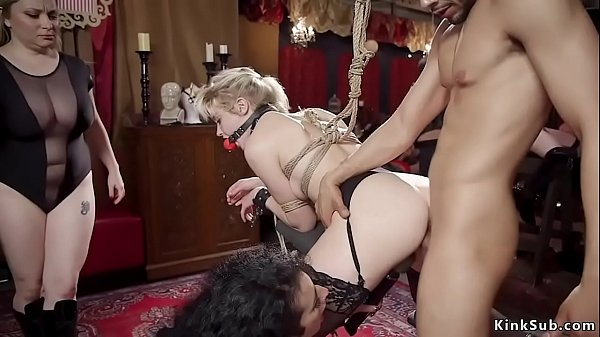 Different slaves in bdsm orgy sex party