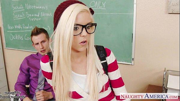 Geeky schoolgirl Halle Von fuck in classroom Thumb