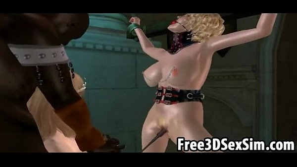 Two 3D cartoon babes sucking on a black cock