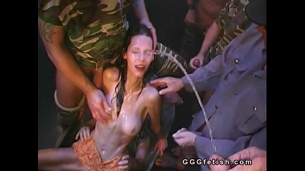 Orgies sex with pissing on brunette girl