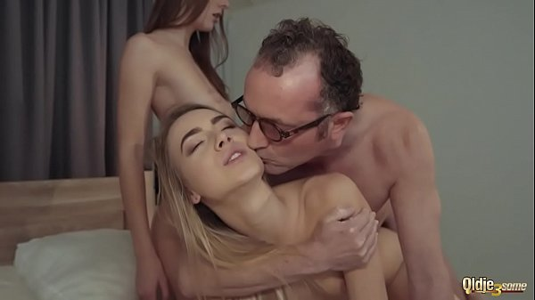 Sugar daddy shares two sisters in bed fucks bot...
